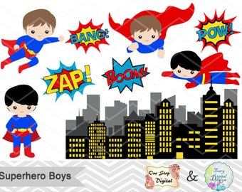 Digital Superhero Clip Art, Superhero Digital Clipart, Super Hero Boys Digital Clip Art, Superman Boy, Super Hero Pop Art Text Bubbles 00184