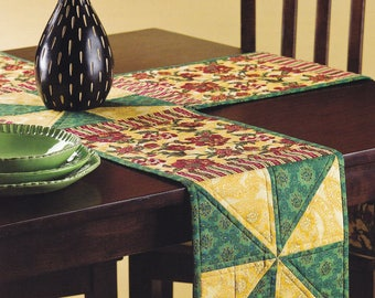 Four Panel Pinwheel Quilt Table Runner Handmade for Round or Square Tables