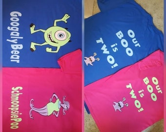 Monsters Inc GoogalyBear and SchmoopsiePoo Birthday Shirt for Parents