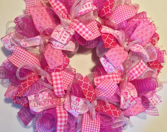 Breast cancer awareness wreath, breast cancer wreath, breast cancer hope wreath, hope wreath, breast cancer survivor gifts, breast cancer