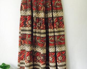 Vintage Floral Cotton Skirt / Festive Skirt / Boho Skirt