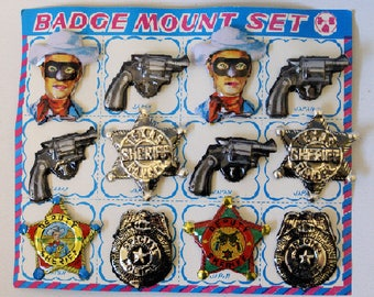 Vintage Tin Lithographed Badge Mount Set Sheriff, Police, Pistol, and Lone Ranger, MINT ON CARD!