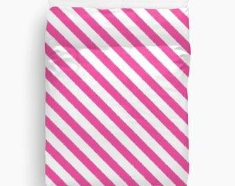 Fuchsia Duvet Cover, Striped Duvet, Pink Bedding, Girls Room Decor, Teen Bedding, Twin Duvet, Queen Size, Tween Room Decor