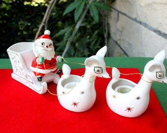 MINT Vintage Holt Howard Christmas Santa Sleigh Planter w Two Reindeer Candle Holders 1950s Japan Figurines Collectibles Decorations