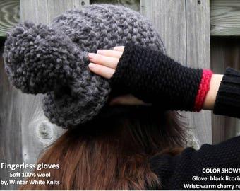 WOOL GLOVES, fingerless Gloves, wool fingerless mittens, chunky knit gloves, fingerless mittens, wool winter mittens, soft knit gloves