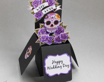 Purple Sugar Skull Wedding Card 3-D Pop Up Rockabilly Tattoo Candy Skull Goth Rock