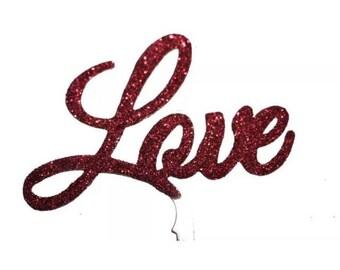 Love Wedding Cake Topper - RED - valentines anniversary birthday