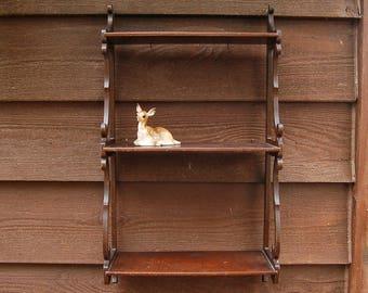 Wall Shelf, Vintage Mahogany Wood 3 Tier Wall Shelf, Cottage Display Shelf