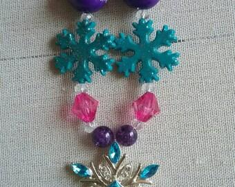 Winter Snowflake Colorful Bubble Gum Bead Necklace