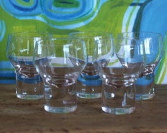 Vintage Scandinavian MCM Danish Wine glasses set of 5 - Per Lutken