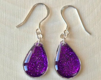 Purple Teardrop Dangle Earrings