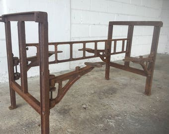Antique Cast Iron Swing Stool Dining Room Dinner Kitchen Table Cafeteria Factory Jail Industrial Loft