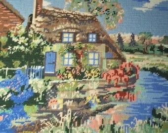 Large Needlepoint Framed - Cottage on a Stream - Vintage
