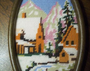 Needlepoint of a Winter Scene in Oval Frame