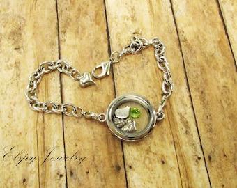 Floating Locket Bracelet, Gift for Sister, Christmas Gift for Sister, Personalized memory locket, Personalized Gift, Birthstone Bracelet
