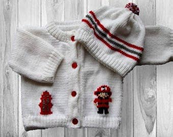 Personalized Knitted Baby Sweater, Fireman Knitted Baby Sweater, Fireman Baby, Fireman Sweater, Firetruck Knitted Baby Sweater