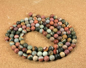 Landscape Ocean Jasper Semi-Matte Round Beads - Smooth Teal and Tan Beads, 16 inch strand