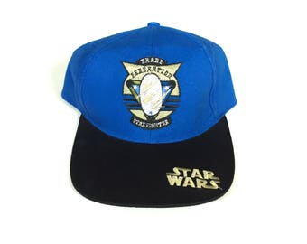 Vintage star wars star fighter Snapback hat Adjustable one Size Fits all OSFA strap back hat Cap deadstock New with tag all embroidered stit