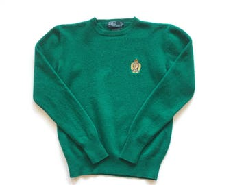 80s polo crest lambswool pullover knit sweater size 20 Women's forest green ralph lauren polo Hong Kong