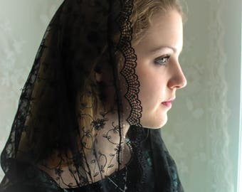 Evintage Veils~ Embroidered Soft Black Lace Chapel Veil Mantilla Infinity Latin Mass