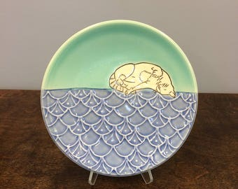 Handmade Lunch Plate, with Frolicking Kitty. Glazed in Blue and Aqua. MA111