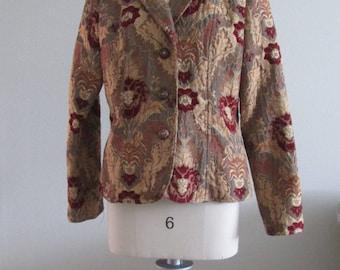 Vintage Erin London Tapestry Brocade Jacket   Size M Circa 1980's #18009