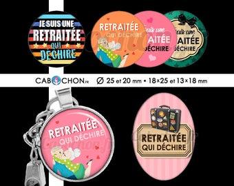 Retraitée qui déchire ! • 60 Images Digitales RONDES 25 et 20 mm OVALES 18x25 et 13x18 mm retraite cabochon cabochons badge miroir moustache