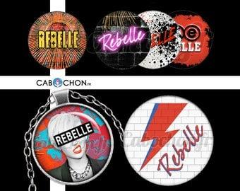 Rebelle • 45 Images Digitales RONDES 30 25 20 mm rebelle stardust rock punk eclair mur épingle nourrice pink floyd images numeriques