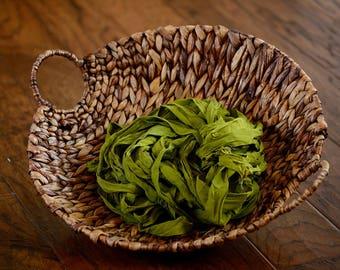 "Sari Silk Chiffon Ribbon 5 yards ""chartreuse green"" leaf green, Free Trade Product-Hand Dyed Recycled Sari Silk Ribbon - OOAK"