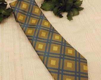 70s Vintage Royalist VIP Men's Necktie Blue Green Pattern