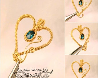 Heart pendant Blue topaz heart pendant Gold filled heart pendant