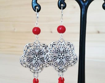 Freyja jewels earrings / Collection Marrakech silver and Red