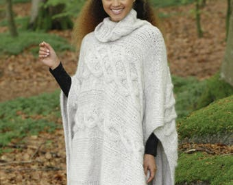 Knit Poncho,Knitted poncho with neck,winter poncho,alpaca poncho,winter poncho Made to order