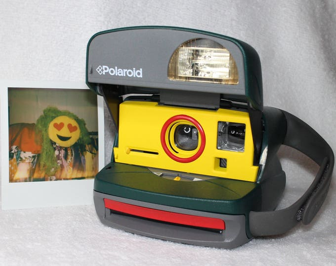 Retro Green Polaroid OneStep Camera With Built In Flash And Close Up Lens Upcycled with Yellow and Red