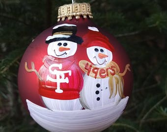 San Francisco 49ers Family Personalized Snowman Christmas Ornament Handpainted Gift