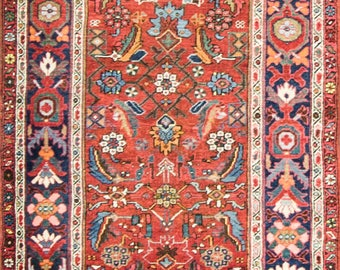 "3'5"" x 14'5"" Magnificent Antique Persian Halwai Bijar, Runner. 16550"