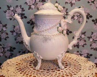 Shabby white chalk painted distressed silver teapot