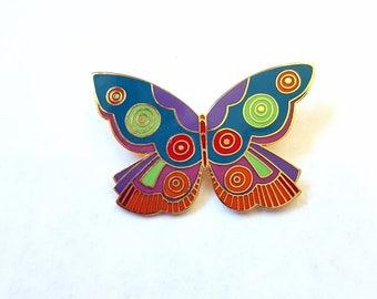 Laurel Burch Butterfly Pin Burch Enameled Jewelry Summer Butterfly Brooch 1980s