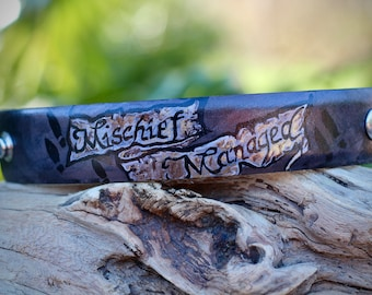 Mischief Managed // Leather Cuff // Leather Bracelet // Harry Potter Inspired // Marauders Map //