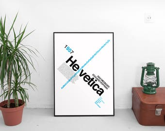 Helvetica Type Face A3 Poster: 297mmx420mm Swiss, Graphic Design, Typography, Type, Font, Graphics, Switzerland, Print, Poster, Blue, Black