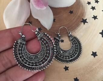 Vintage Bohemian Hoop Earrings, Reiki Infused