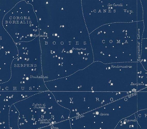 Blue Star Map Star Map Print Constellations Chart Print Blue Constellation Celestial Map Constellations Art Blue Large Horizontal Art