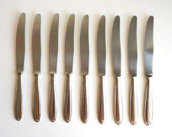Dinner knives German stainless steel set of 9, vintage cutlery, vintage flatware, table knife ROSTFREI