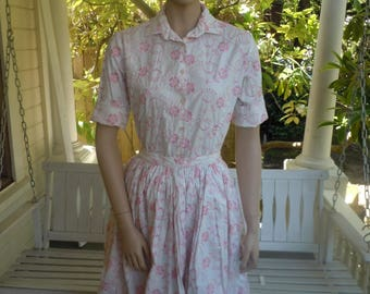 "Bust:  up to 38"" ** Spectacular 1950s Cotton Blouse / Skirt Set (Deadstock Unworn)"