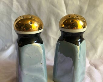 Shiny Blue and Gold 1960's Salt and Pepper Shakers