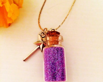 Fairy Sparkle Dust Necklace with Magic Wand