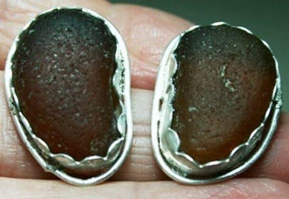 LARGE BROWN SEAGLASS Earrings - Sterling silver   Ear Studs, Seaglass earrings, Sterling silver setting