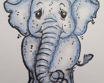 Elephant mounted rubber stamp