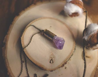 Amethyst piece brass bullet shell necklace