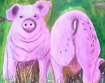 Original Pig Painting, Pig Art, Farm Painting, Animal, Pet  Art, For the Kitchen, Gift Idea, 8x8in, MelidasArt